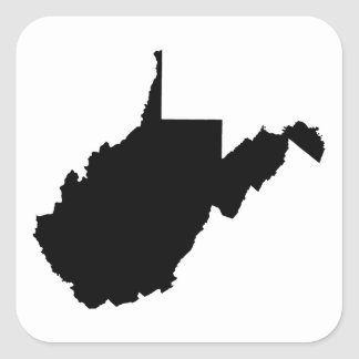 West Virginia Black and White Square Sticker