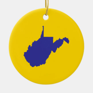 West Virginia Blue and Gold Christmas Ornament