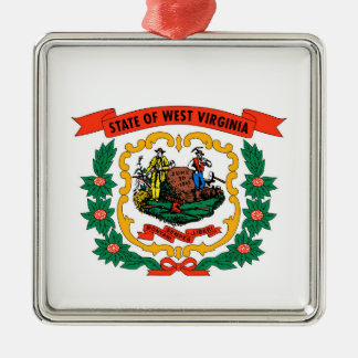 west virginia coat arms state flag united america Silver-Colored square decoration