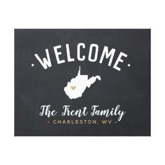 West Virginia Family Monogram Welcome Sign