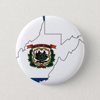 West Virginia Flag Map 6 Cm Round Badge