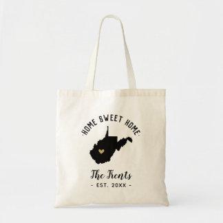 West Virginia Home Sweet Home Family Monogram Tote Bag