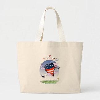 west virginia loud and proud, tony fernandes large tote bag