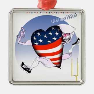 west virginia loud and proud, tony fernandes Silver-Colored square decoration