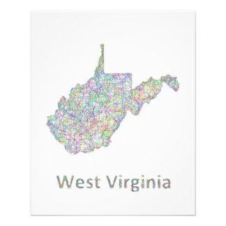 West Virginia map 11.5 Cm X 14 Cm Flyer