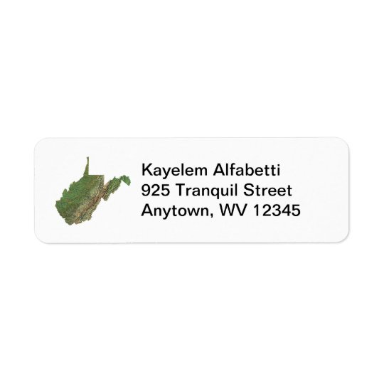 West Virginia Map Return Address Label