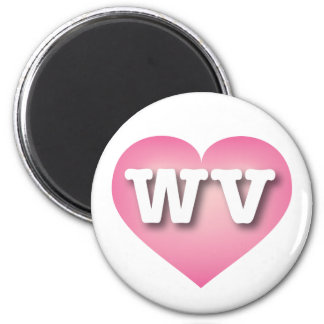 West Virginia Pink Fade Heart - Big Love 6 Cm Round Magnet