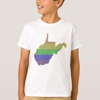 West Virginia Rainbow Pride Flag Mosaic For Kids T Shirt