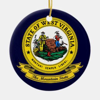 West Virginia Seal Round Ceramic Decoration