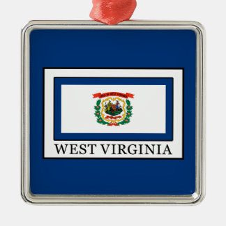 West Virginia Silver-Colored Square Decoration