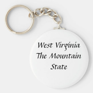 West Virginia The Mountain State Basic Round Button Key Ring