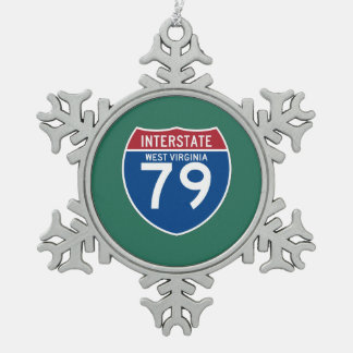 West Virginia WV I-79 Interstate Highway Shield - Pewter Snowflake Decoration