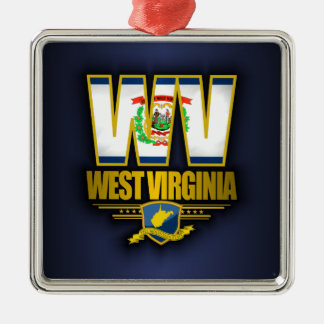 West Virginia (WV) Silver-Colored Square Decoration