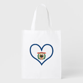 West Virginian Flag on a cloudy background Reusable Grocery Bag