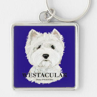 Westacular West Highland White Terrier! Silver-Colored Square Key Ring