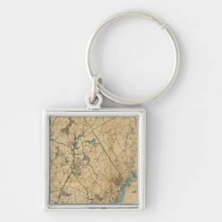 Westchester County, New York 2 Silver-Colored Square Key Ring