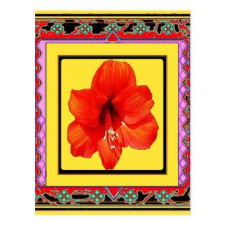 Western Amaryllis Red-Yellow Design Postcard