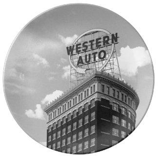 Western Auto Half Cylinder Building Plate