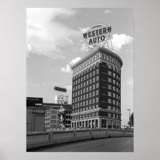 Western Auto Half Cylinder Building Poster