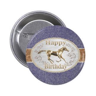 Western Belt And Buckle On Denim Happy Birthday 6 Cm Round Badge