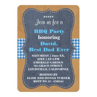 Western BEST DAD EVER Denim BBQ PARTY Custom 13 Cm X 18 Cm Invitation Card