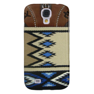 """Western """"Blue Horse Blanket & Leather"""" IPhone 3 Galaxy S4 Case"""