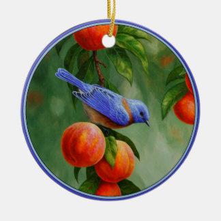 Western Bluebird and Ripe Peaches Christmas Ornament