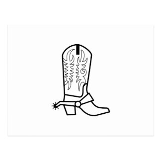 Western Boot Outline Postcard