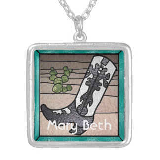 WESTERN Boot with Cactus Personalized Sterling Sil Square Pendant Necklace