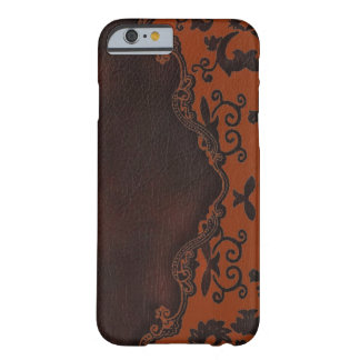 western Brown leather orange Damask iPhone 6 case