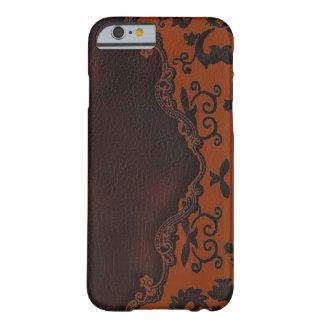 western Brown leather orange Damask iPhone 6 case