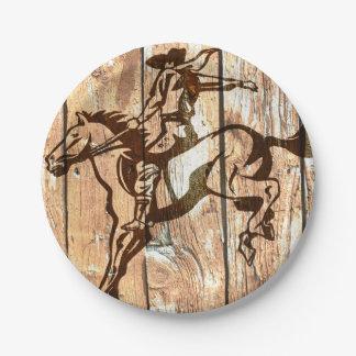 Western bucking bronco wooden cowboy paper plates