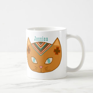 Western Cat Turquoise Name Coffee Mug