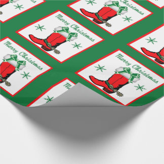 Western Christmas Cowboy Boot Wrapping Paper