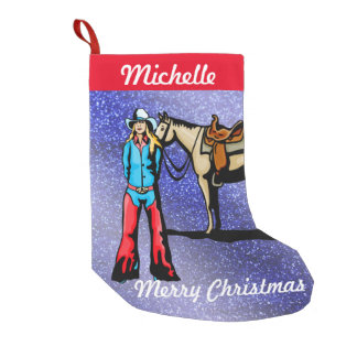 Western Christmas Stocking Cowgirl With Horse
