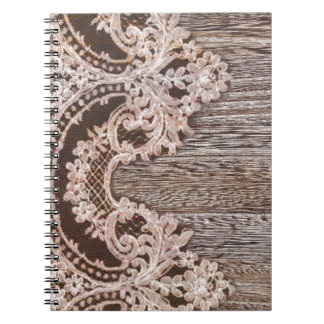 Western Country Barn Wood Boho Chic Lace Spiral Notebook