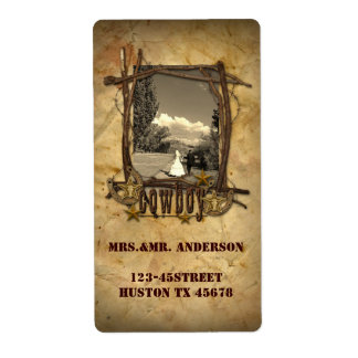 western country cowboy photo wedding address label