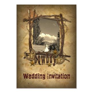 western country cowboy wedding  photo invitation
