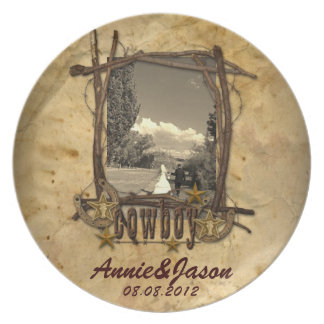 western country cowboy wedding photoPlate Plate
