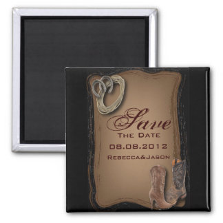 western country cowboy wedding save the date square magnet
