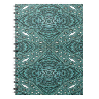 Western Country fashion Teal Turquoise Leather Spiral Notebook