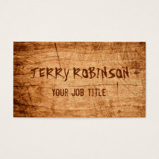Western Country Rustic Scratched Wood Grain Business Card
