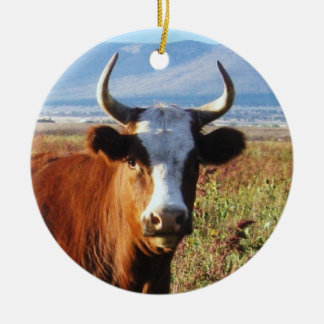 Western Cow  and Baby Calf Cattle Two-sided Christmas Ornament