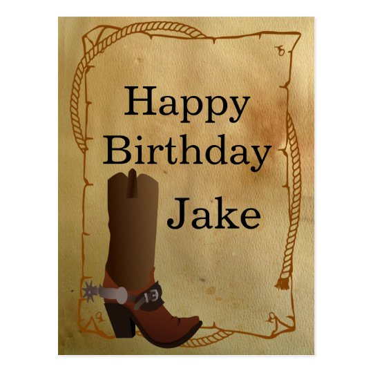 Western Cowboy Boot Happy Birthday Postcard