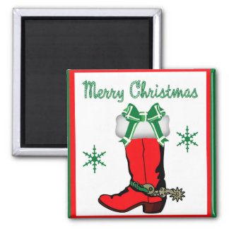 Western Cowboy Boot Stocking With Merry Christmas Square Magnet
