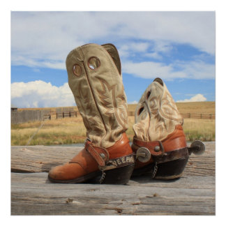 Western Cowboy Boots and Spurs Print