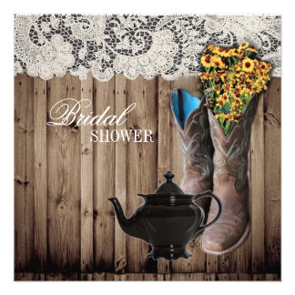 western cowboy boots Bridal Tea Party Invitation