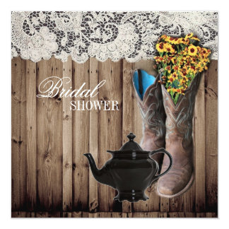 "western cowboy boots Bridal Tea Party Invitation 5.25"" Square Invitation Card"