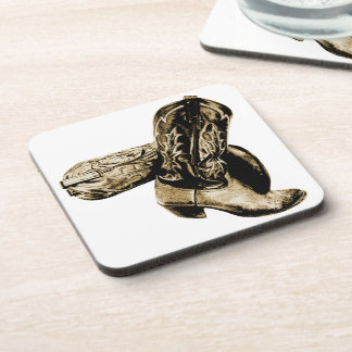 Western Cowboy Boots in Sepia Coasters