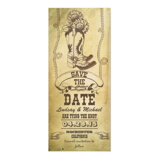 western cowboy boots vintage save the date cards
